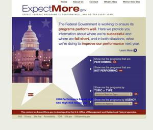 Primary view of object titled 'ExpectMore.gov'.