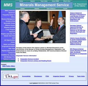 Primary view of object titled 'Minerals Management Service'.