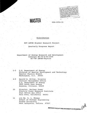 Primary view of object titled 'MIT LMFBR blanket research project. Quarterly progress report, October 1--December 31, 1978'.