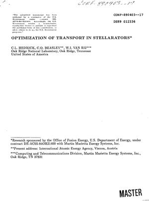 Primary view of object titled 'Optimization of transport in stellarators'.