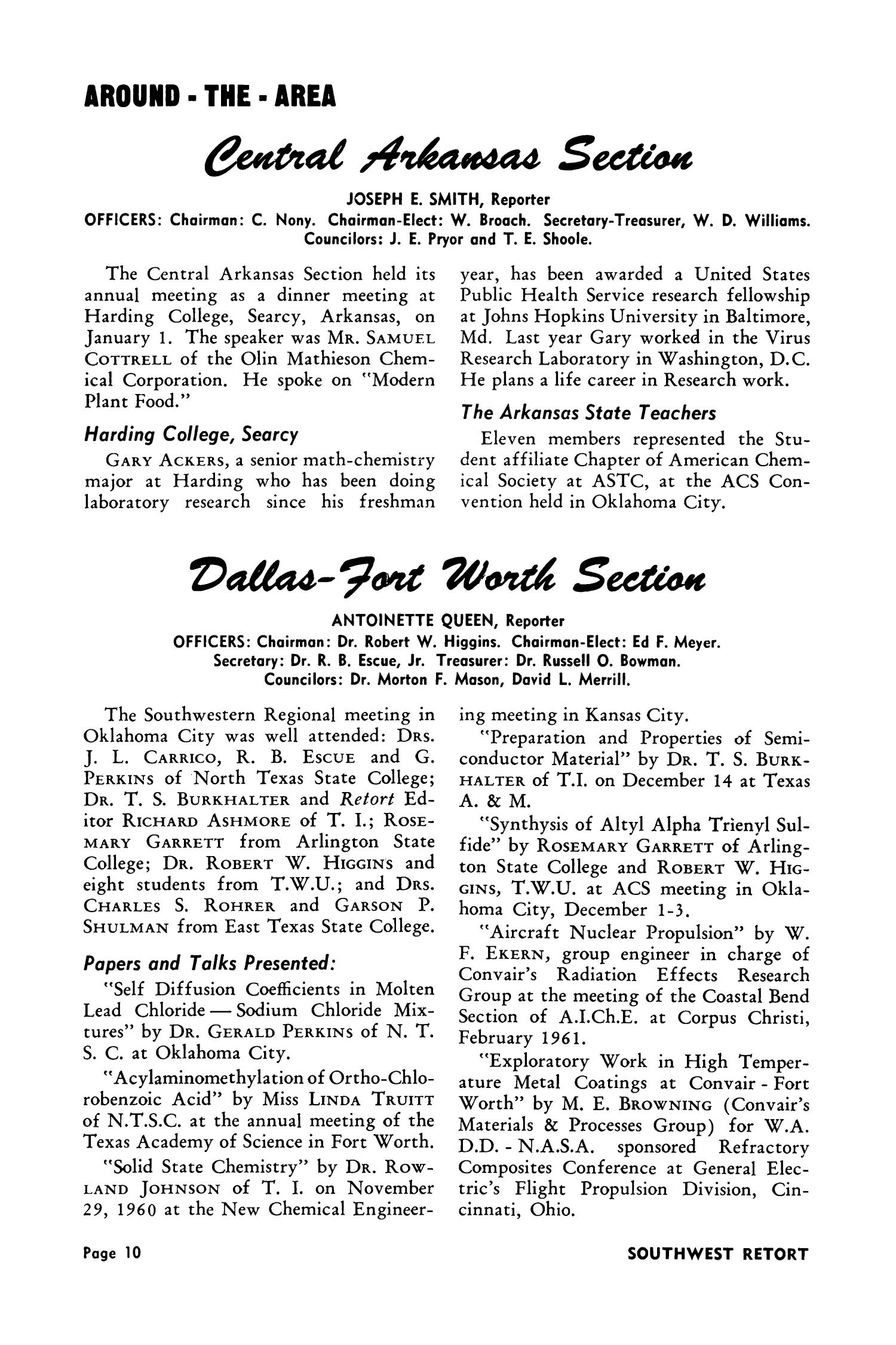 Southwest Retort, Volume 13, Number 6, February 1961                                                                                                      10