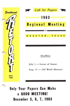 Primary view of object titled 'Southwest Retort, Volume 15, Number 9, May 1963'.