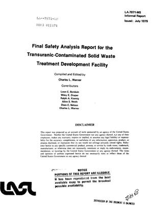 Primary view of object titled 'Transuranic-contaminated solid waste Treatment Development Facility. Final safety analysis report'.