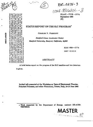 Primary view of object titled 'A status report on the SLC program'.