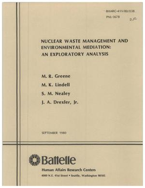 Primary view of object titled 'Nuclear waste management and environmental mediation: an exploratory analysis Topical report'.