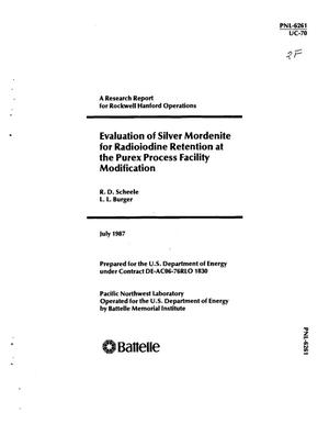 Primary view of object titled 'Evaluation of silver mordenite for radioiodine retention at the PUREX Process Facility Modification'.