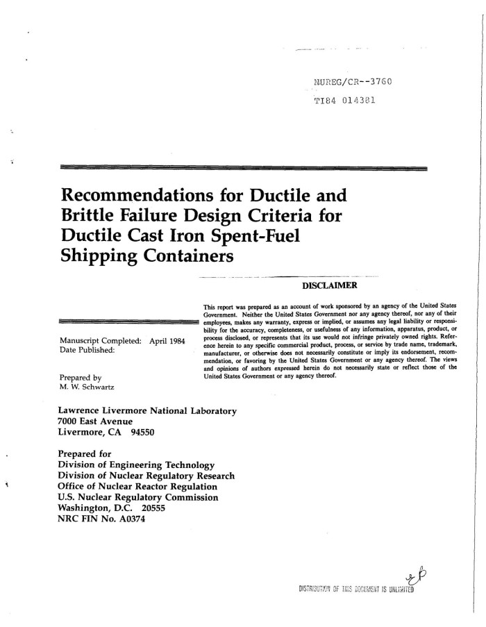 Recommendations for ductile and brittle failure design