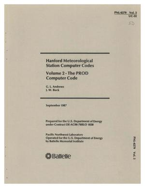 Primary view of object titled 'Hanford Meteorological Station computer codes: Volume 2, The PROD computer code'.