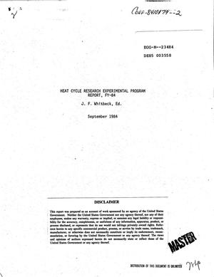 Primary view of object titled 'Heat Cycle Reserch Experimental Program report, FY-84'.