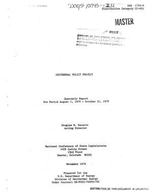 Primary view of object titled 'Geothermal policy project. Quarterly report, August 1-October 31, 1979'.