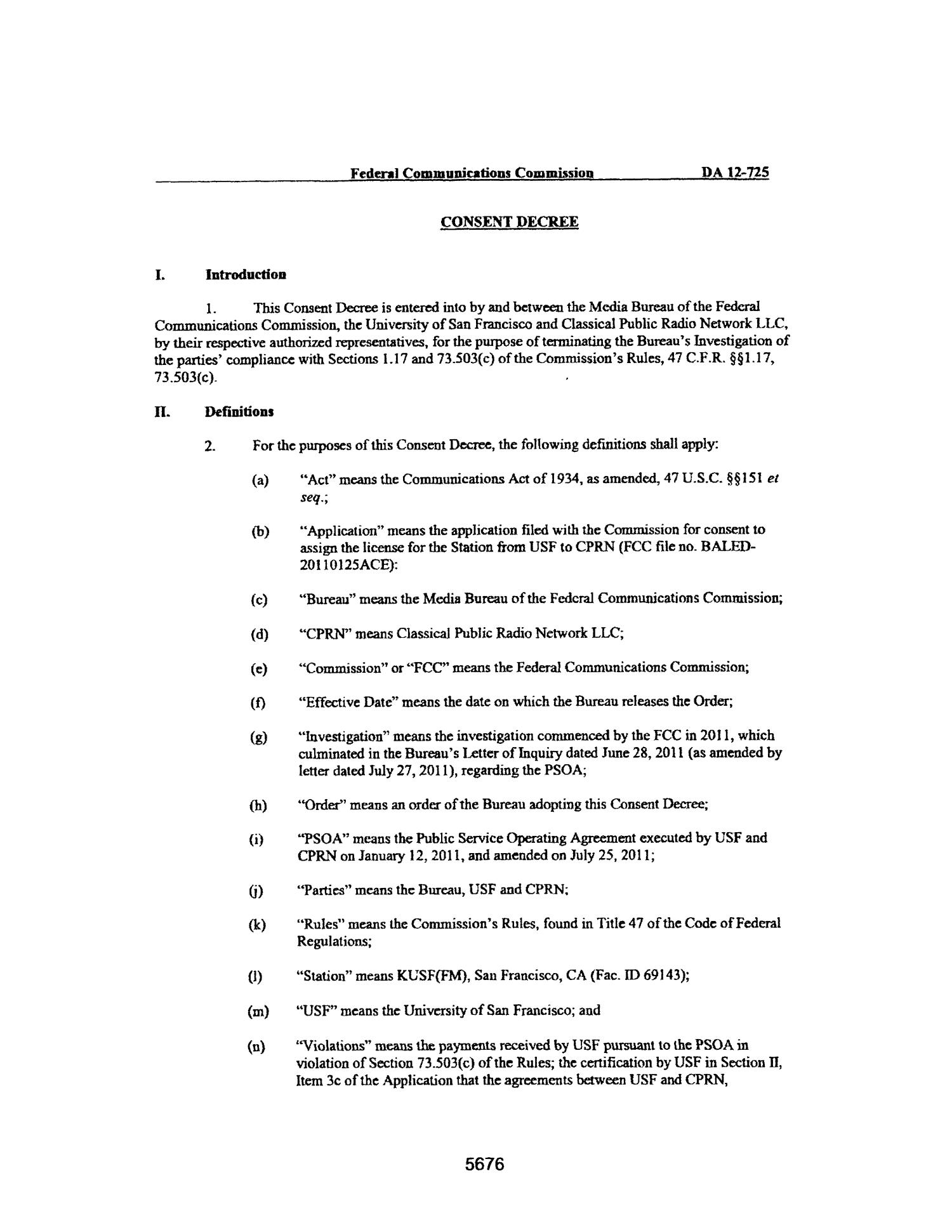 FCC Record, Volume 27, No. 7, Pages 5674 to 6652, May 23 - June 15, 2012                                                                                                      5676