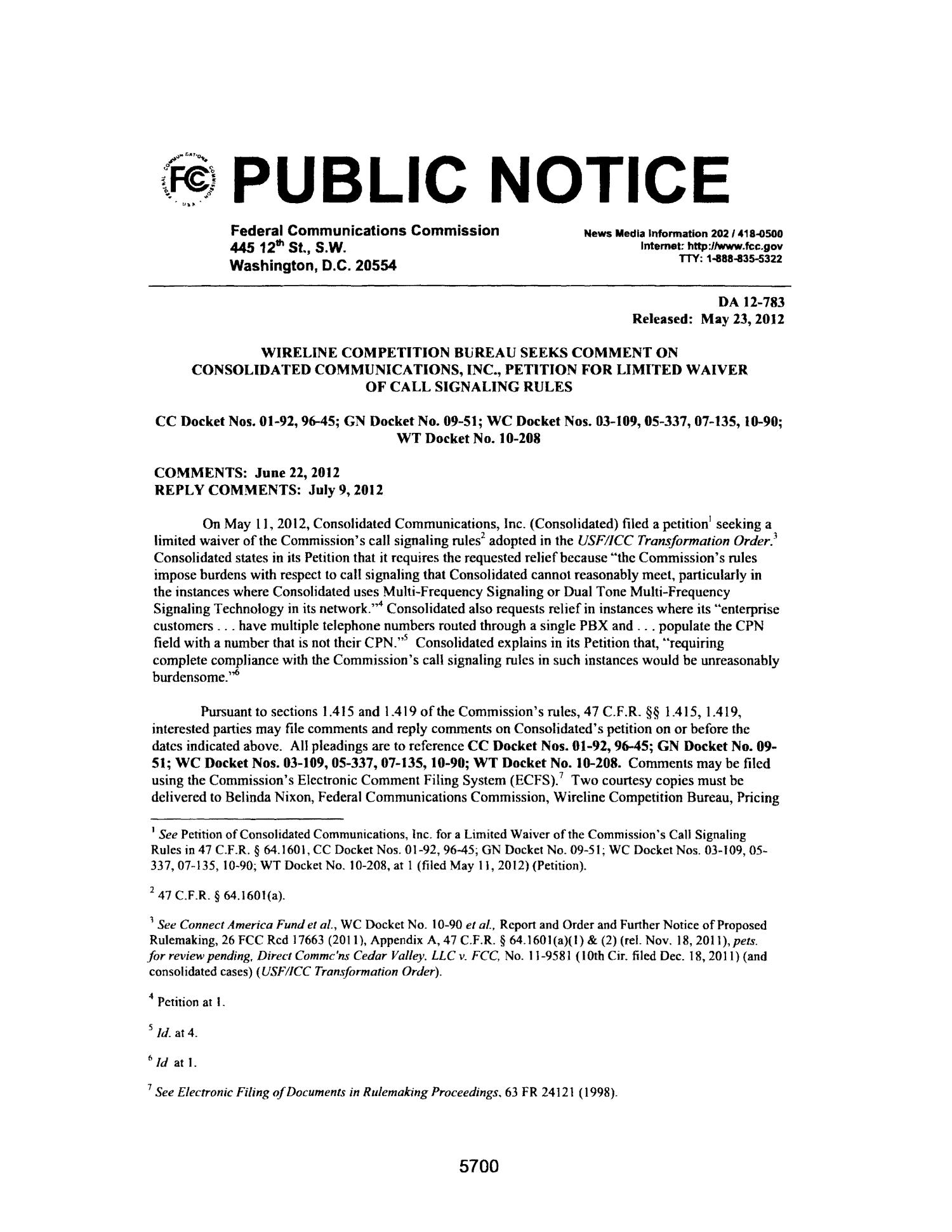FCC Record, Volume 27, No. 7, Pages 5674 to 6652, May 23 - June 15, 2012                                                                                                      5700