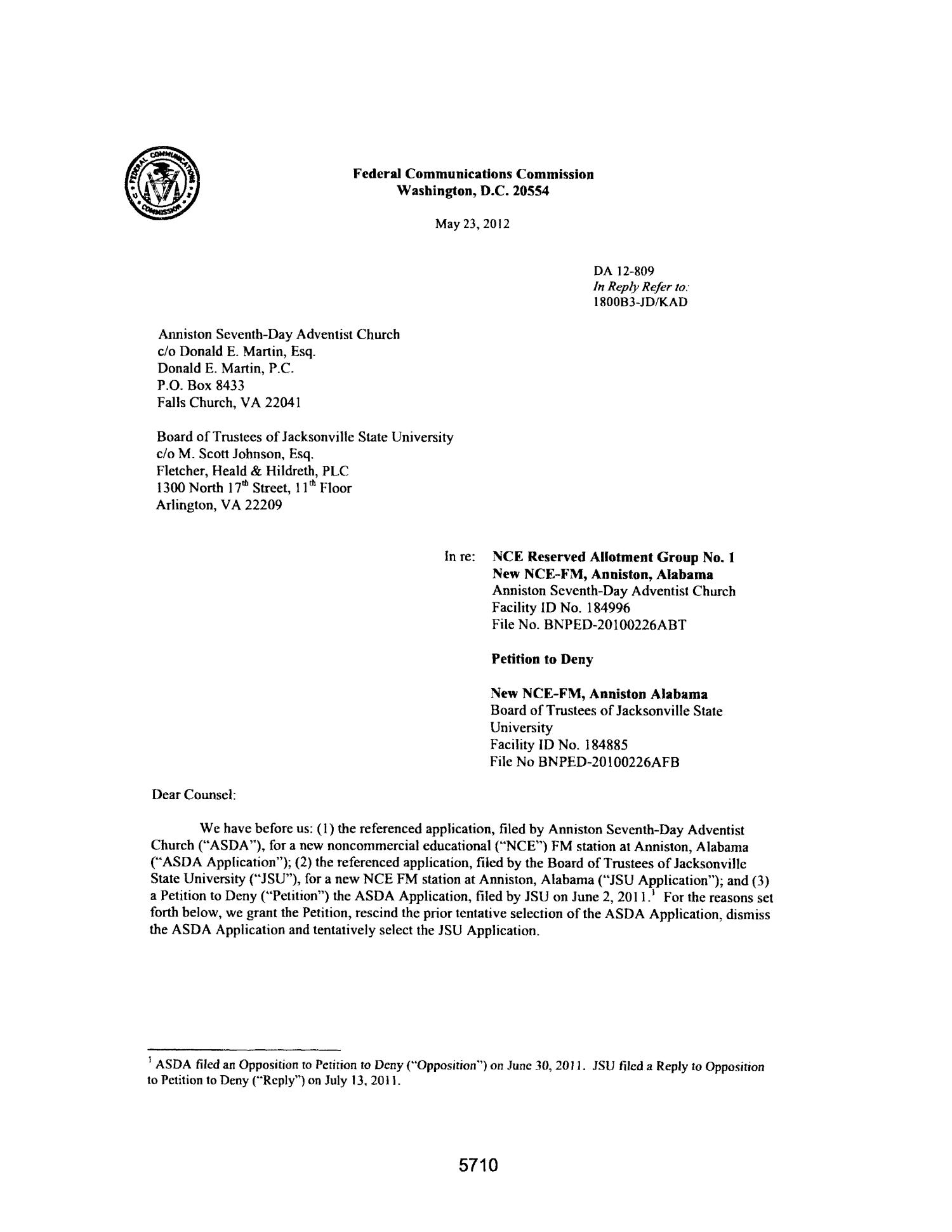 FCC Record, Volume 27, No. 7, Pages 5674 to 6652, May 23 - June 15, 2012                                                                                                      5710