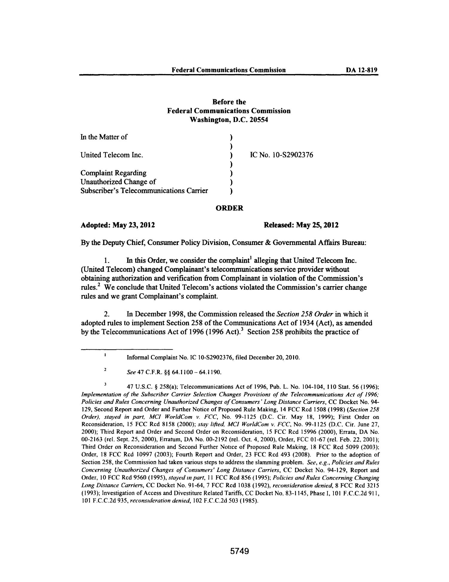 FCC Record, Volume 27, No. 7, Pages 5674 to 6652, May 23 - June 15, 2012                                                                                                      5749