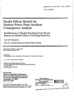 Primary view of object titled 'Health effects models for nuclear power plant accident consequence analysis: Modifications of models resulting from recent reports on health effects of ionizing radiation'.