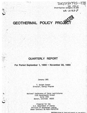 Primary view of object titled 'Geothermal policy project. Quarterly report, September 1, 1980-November 30, 1980'.