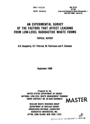 Primary view of object titled 'An experimental survey of the factors that affect leaching from low-level radioactive waste forms'.