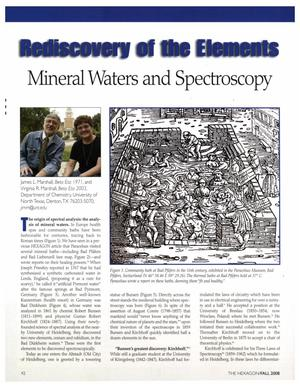 Rediscovery of the Elements: Mineral Waters and Spectroscopy