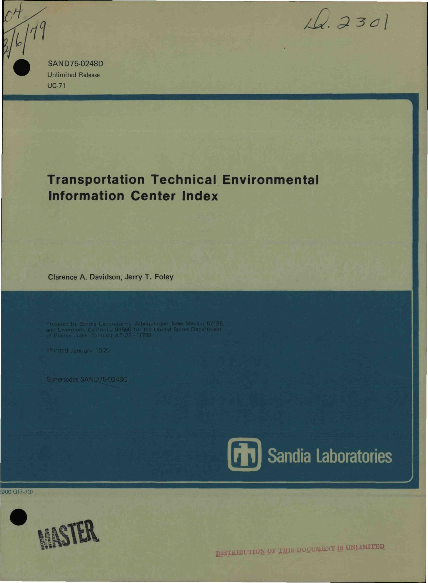 Transportation Technical Environmental Information Center index                                                                                                      [Sequence #]: 1 of 56