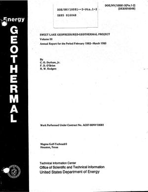 Primary view of object titled 'Sweet Lake geopressured-geothermal project, Magma Gulf-Technadril/DOE Amoco fee. Volume III. Final report. Annual report, February 1982-March 1985'.