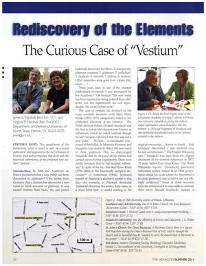 Rediscovery of the Elements: The Curious Case of Vestium