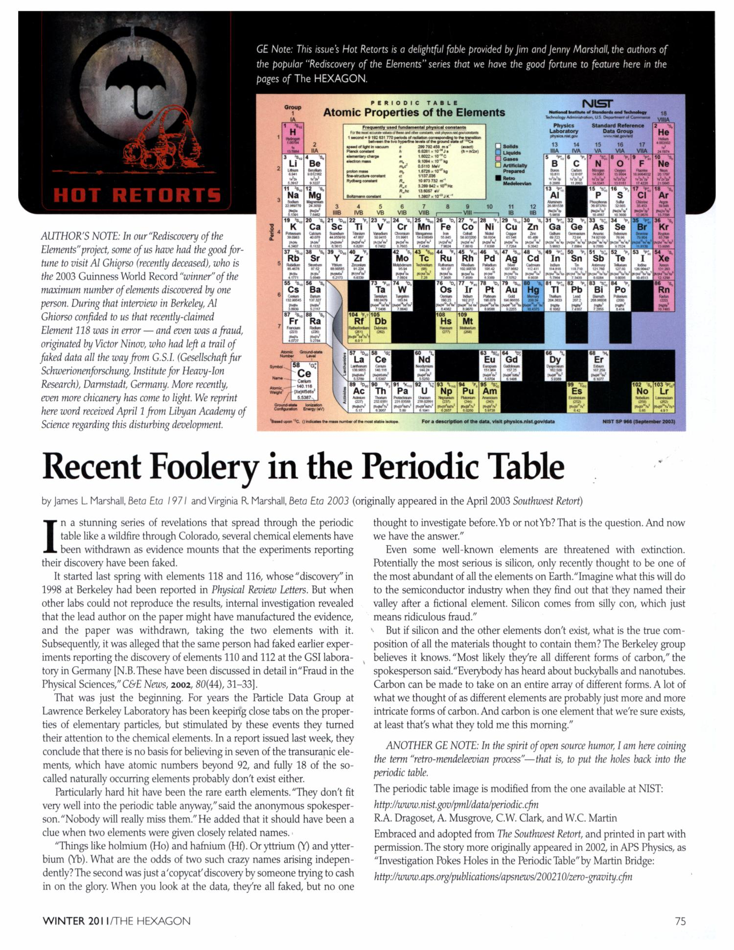 Recent Foolery in the Periodic Table                                                                                                      75