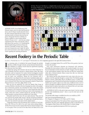 Primary view of object titled 'Recent Foolery in the Periodic Table'.