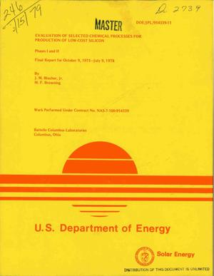 Primary view of object titled 'Evaluation of selected chemical processes for production of low-cost silocon. (Phases I and II. ) Final report, October 9, 1975--July 9, 1978. Silicon Material Task, Low-Cost Solar Array Project'.