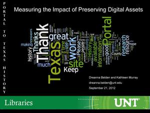 Primary view of object titled 'The Impact of Digitizing Resources: Content Partner and User Perspectives'.