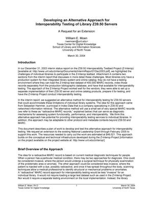 Primary view of object titled 'Developing an Alternative Approach for Interoperability Testing of Library Z39.50 Servers'.