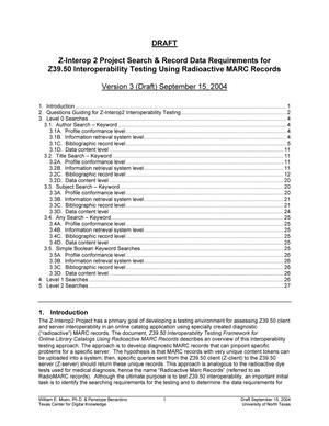Primary view of object titled 'Z-Interop 2 Project Search and Record Data Requirements for Z39.50 Interoperability Testing Using Radioactive MARC Records'.
