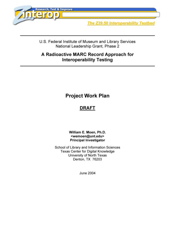 Moen, William E. Project Work Plan Draft . UNT Digital Library. http ...