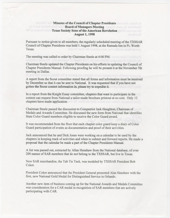 minutes for the txssar board of managers meeting august 1 1998