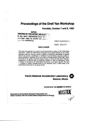 Primary view of object titled 'Proceedings of the Drell Yan workshop'.