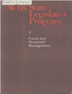 ACIR state legislative program : 4. Fiscal and Personnel Management