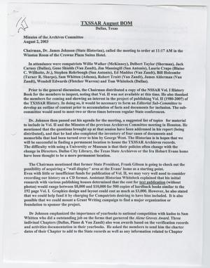 Primary view of object titled '[Minutes for the TXSSAR Board of Managers Meeting: August 2, 2003]'.