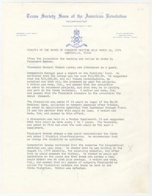 Primary view of [Minutes for the TXSSAR Board of Managers Meeting: March 16, 1979]