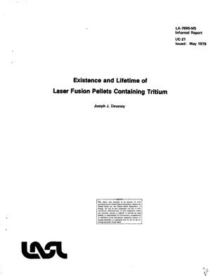 Primary view of object titled 'Existence and lifetime of laser fusion pellets containing tritium'.