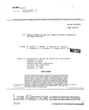 Primary view of object titled 'Status report on the Los Alamos National Laboratory Ion Beam Facility'.