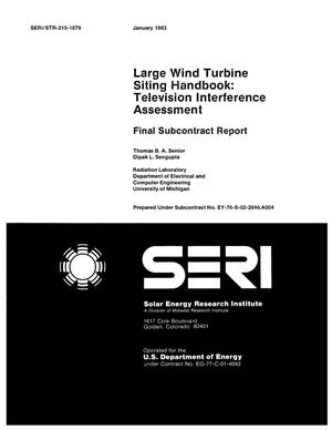 Primary view of object titled 'Large wind turbine siting handbook: television interference assessment. Final subcontract report'.