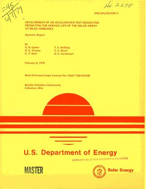 Primary view of object titled 'Development of an accelerated test design for predicting the service life of the solar array at Mead, Nebraska. Quarterly report'.