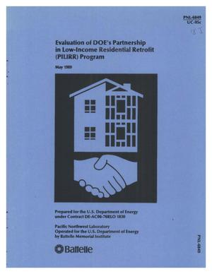 Primary view of object titled 'Evaluation of DOE's Partnership in Low-Income Residential Retrofit (PILIRR) Program'.