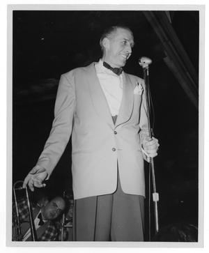Primary view of object titled '[Photographs of Stan Kenton with Trombones]'.