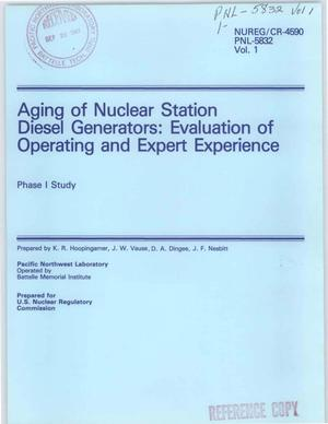 Primary view of object titled 'Aging of nuclear station diesel generators: Evaluation of operating and expert experience: Phase 1, Study'.
