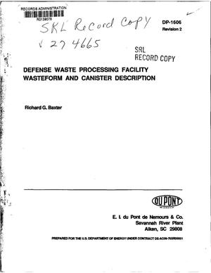 Primary view of object titled 'Defense Waste Processing Facility wasteform and canister description: Revision 2'.