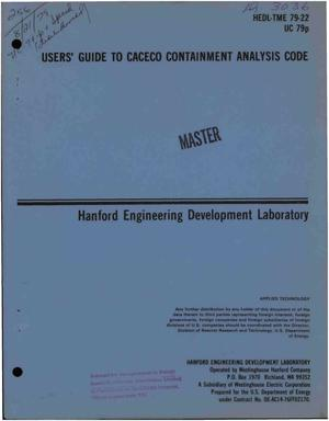 Primary view of Users' guide to CACECO containment analysis code. [LMFBR]