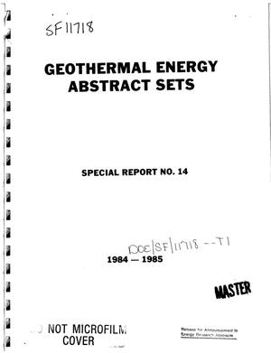 Primary view of object titled 'Geothermal energy abstract sets. Special report No. 14'.