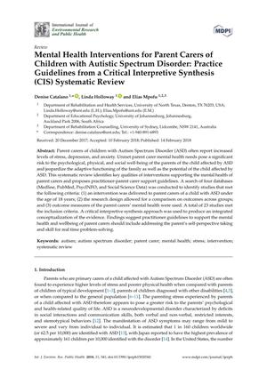 Mental Health Interventions for Parent Carers of Children with Autistic Spectrum Disorder: Practice Guidelines from a Critical Interpretive Synthesis (CIS) Systematic Review