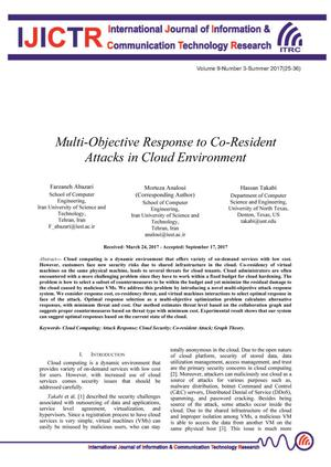 Multi-Objective Response to Co-Resident Attacks in Cloud Environment