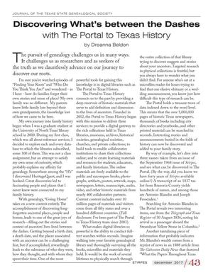Primary view of object titled 'Discovering What's between the Dashes with The Portal to Texas History'.
